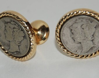 Genuine Vintage 1950s-1960s era Silver Mercury Dime Cufflinks-- Free Shipping!