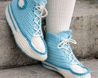 Crochet Let's Walk Women's/Teens Hi-Top Converse Inspired Wool Sneaker Slipper, Custom Order, Handmade