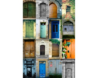 Door Photography, 16 French Doors Photo, Europe Home Decor, France Photography, extra large wall art collage, Foyer Print, Set of Doors