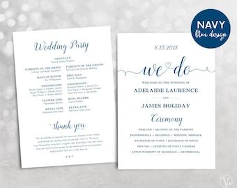 Navy Blue Wedding Program, Printable Wedding Program, Wedding Program Template, DIY Program, INSTANT DOWNLOAD, Editable Text, We Do VW03