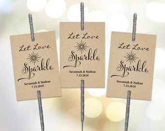 Sparkler Tags Tempate, Printable Wedding Sparkler Tags, Let Love Sparkle Sign
