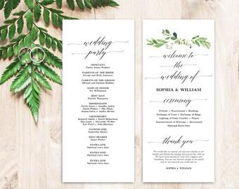 Greenery Wedding Program Template, Printable Wedding Programs, Wedding Program Template, Editable Text, Tea Length, Garden Greenery