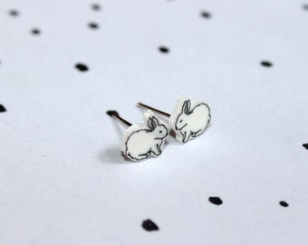 Fluffy White Rabbit stud earrings