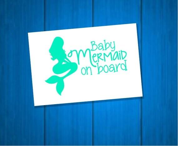 Baby Mermaid On Board  Vinyl  Decal - Car Decal  Sticker