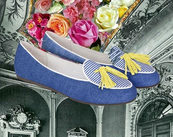 Denim Loafer/Smoking Slipper/Handmade Shoe/Striped Shoes