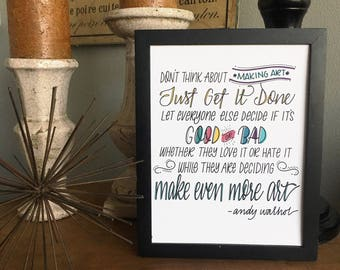 Create Art, Positivity Print, Girl, Quote, Hand Lettered, Hand Drawn, Encouragement, Print,