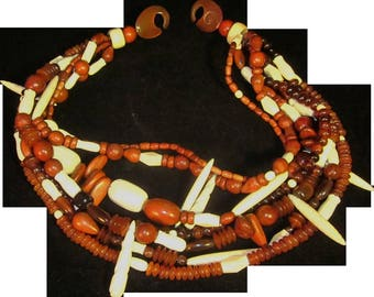 Vintage Gerda Lynggaard by Monies Avant Garde Runway Beaded Multi Strand Necklace