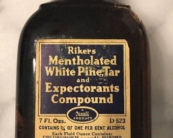 Antique Rikers White Pine & Tar Cough Syrup Medicine Bottle Almost Full