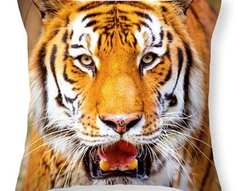 Tiger On the Hunt Throw Pillow, Decorative Pillow, Pillows, Animal Pillow, Neutral Pillow, Lumbar Pillow, Orange, Black, White