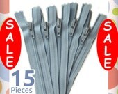"On Sale : YKK Light Blue 9 Inch Zippers, Size 3, Nylon Coil, 15 Pack, Soft Blue, Baby Blue, Sewing Notions, 9"", ZIP-AA090"