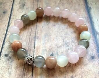 Fertility Bracelet, Moonstone Fertility Bracelet, Moonstone Rose Quartz Bracelet, TTC Hope Bracelet, Fertility Journey Jewelry
