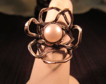 Cool Vintage Sterling Silver Pearl Ring - 7