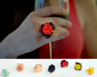Handmade Rings, Clay Rose, Polymer Clay, Clay Flowers, Gift for Her, Gift for Mom, Mother's Day