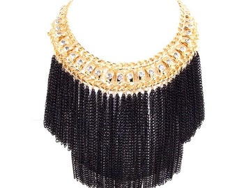 Gold and Black Tassel Chain Statement Necklace