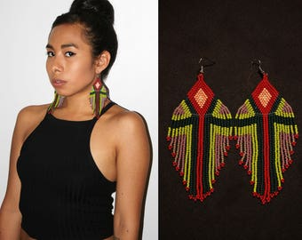Large Dangling Earrings, Boho Tribal Chandelier Earrings, Native American Beaded Earrings, Geometric Aztec Earrings, Statement Earrings