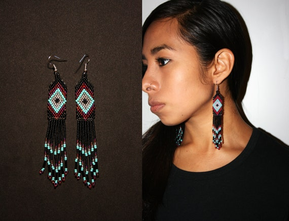 Traditional Brick Stitch Earrings, Small Dangle Earrings, Native American Beaded Earrings, Huichol Earrings with Ojo de Dios, Authentic