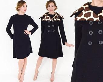 "60s Black Dress Coat | Wool Knit Dress and Coat | Giraffe Print Collar Coat Matching Dress | ""Mamselle by Betty Carol"" | Small"