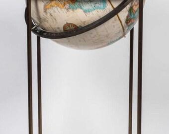 "Super Rare Paul McCobb Mid Century 16"" Repogle World Classic Series Globe w/ Brass Stand"