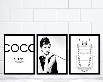 Set of 3 Coco Chanel Audrey Hepburn Chanel Perfume Bottle Black Lady Art Print Poster Prints