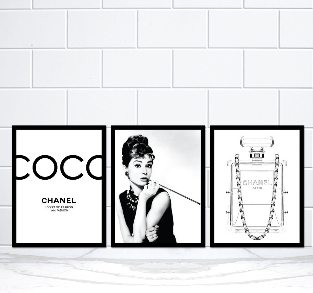 set of 3 coco chanel audrey hepburn chanel perfume bottle. Black Bedroom Furniture Sets. Home Design Ideas