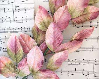 coral pink velvet leaf stem. vintage velvet leaves. leaves for floral displays. scrapbooking velvet leaves. craft leaves, millinery leaves.
