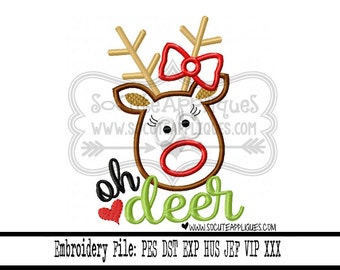 Christmas Embroidery design 5x7 6x10 Oh deer Rudolph Christmas saying, embroidery saying, socuteappliques, reindeer applique, Naughty list