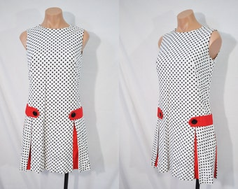 Vintage 60s Polka Dot Scooter Dress Mini Go Go Dress Mod Dress Quirky Day Dress 101 Dalmatians Disney Bound Dress Drop Waist Dress