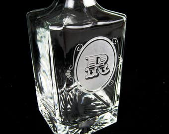 Whiskey Decanter - Personalized Engraved Whiskey Decanter - Monogram Groomsman Gift - Deep Etch Engraved Decanter - Glass Whisky Decanter