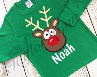 Boys  Christmas shirt,boys Rudolph shirt, boys reindeer shirt