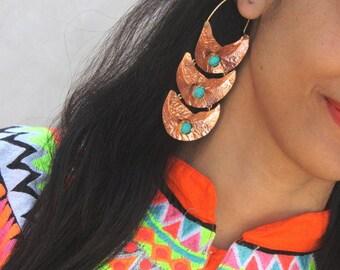 Copper Hoop Earrings - Turquoise Earring - Gemstone Designer Earring - Rustic Earrings - Organic Earring - Copper Jewelry