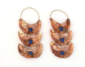 Copper Hoop Earrings - Lapis Earring - Gemstone Designer Earring - Rustic Earrings - Organic Earring - Copper Jewelry