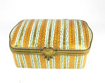 Vintage pretty china Limoges le Tallec jewellery trinket box pin box orange green white 1962