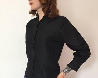 Small/medium 1950s tailored black blouse/50s blouse