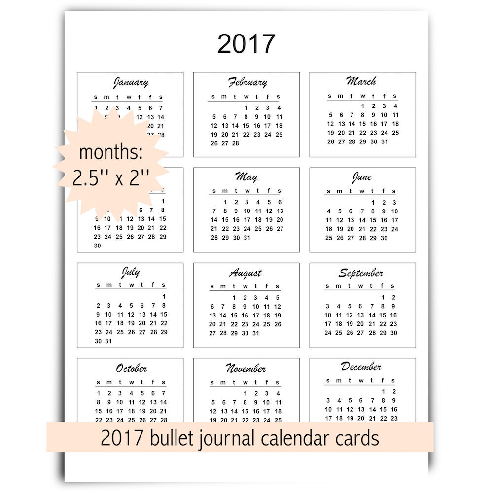 2017 mini calendar cards instant download commercial use