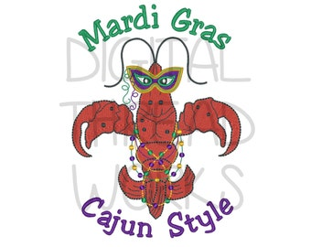 Mardi Gras Cajun Style Crawfish Embroidery Design. Instant Download for 4x4 5x7 and 6x10 inch hoops. ITEM# MGCSC01