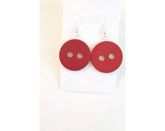 button earrings, red button earrings, red earrings, button dangle earrings, red dangle earrings, gifts for her, button jewelry, red jewelry