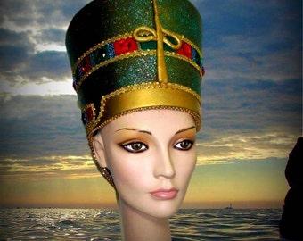 Nefertiti Headdress, Egyptian Headdress, Burning man, Rave Festival, Fantasy Fest, EDM, EDC, Theatrical Headdress, Historical Headdress