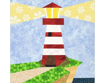 Lighthouse Quilt Block Paper Pieced Pattern
