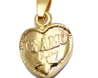 Te Amo Pendant with 20 inch Chain - Te Amo Necklace - Te Amo Rose Necklace