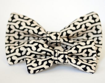 Dog Bone Bow Tie - Black and Cream