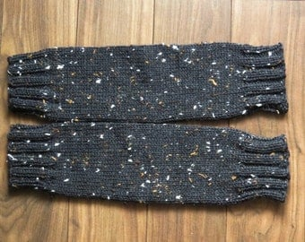 Hand Knitted Leg Warmers for Women. Acrylic and Viscose. Color- Black Tweed.