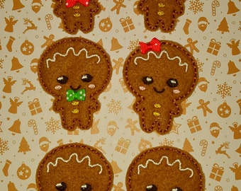 Cute Ginger bread man Christmas kawaii happy face pattern embroidery In the hoop design file ITH clippie feltie