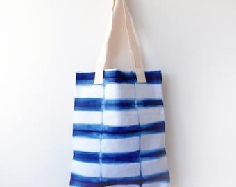 Shibori Blue Striped Tote Bag
