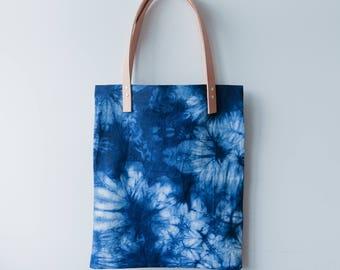 Shibori and Leather Tote bag // Palms Summer Bag