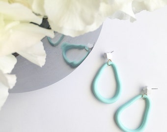 White & Mint Hoopies Hoop Earrings