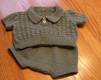 Hand Knit Baby Boy Sweater Set - Sweater Set with Rompers - Knit Baby Boy Set with Diaper Cover - Hand Knit Baby Sweater Set - Baby Boy Set