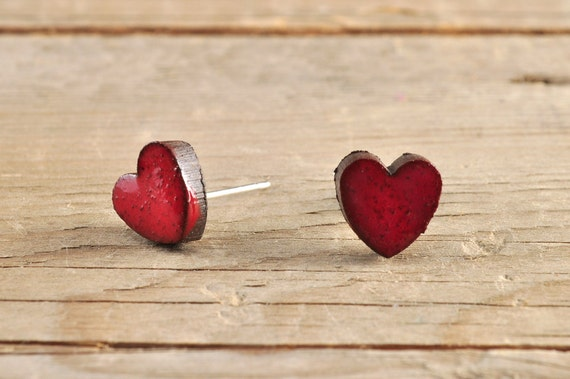 MINI glossy red heart shape stoneware stud earrings
