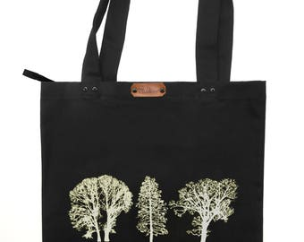 Trees - handcrafted zip fastened black cotton canvas tote bag