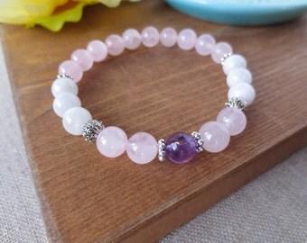 Rose Quartz, Moonstone and Amethyst Fertility Stretch Bracelet, Bali Style Bead Spacers, Fertile Gems