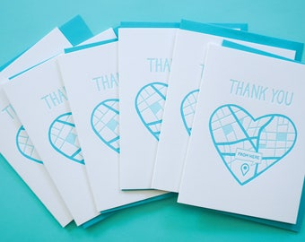 Thank You Boxed Set. Sweet Letterpress Cards. Greeting Card Set of 6. From the Bottom of my Heart.